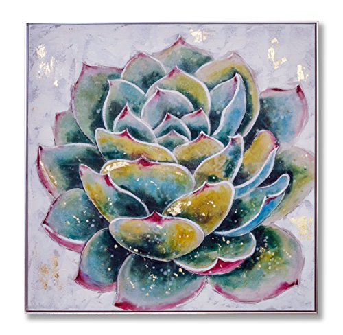 "In Liu Of | Modern Oil Painting on Canvas ""Aspiring Succulent"" (Desert Flowers) Fine Art, Hand-Painted Acrylic Finish 