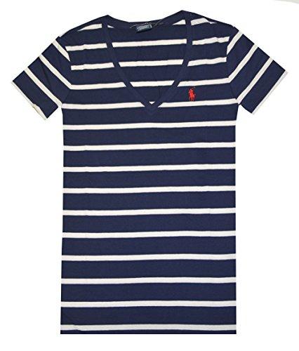 Ralph Lauren Sport Women Striped V-neck Pony Logo T-shirt (M, Newport Navy/Cream)
