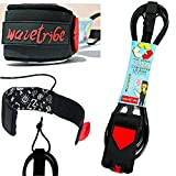 6 Shortboard Leash - Surf Leash Premium 6ft Foot Surfing Leash - Double Stainless Steel Swivels and Triple Rail Saver - Key Pocket (Black, 6 Foot Surf Leash)