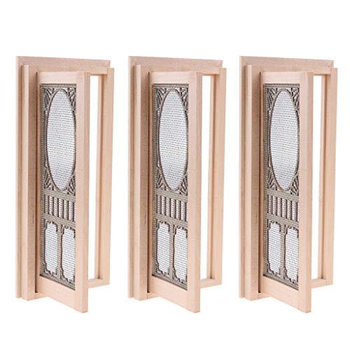 NATFUR 3pcs 1/12 Dollhouse Mini Wooden External Hollow Screen Single Door Unpainted