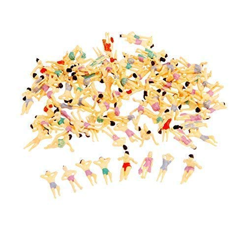 Yetaha 100Pcs Painted Swimming Figures Scale HO 1:100 for Model Train Layout Beach People ()