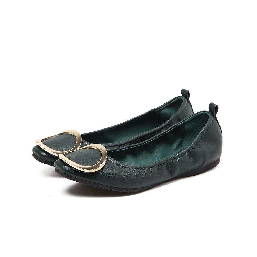 Xue Qiqi Court Schuhe Frühlingsrollenschuhe Beschuht Weibliche Weibliche Weibliche Flache Schuhe mit Flachen Flachen Runden Schuhen des Runden Mundes Runde Schnalle Vier Wilde Schuhe der Schuhe e0fea4
