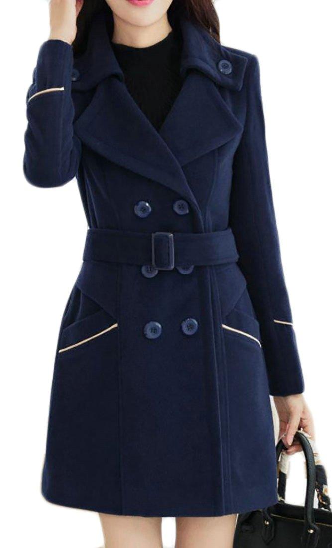 JWK Women's Double-Breasted Slim Wool-Blend Solid Winter Pea Coats Navy Blue L