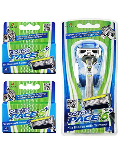 Dorco Pace 6 Plus- Six Blade Razor System with Trimmer - 10 Pack (1 Handle + 10 Cartridges)