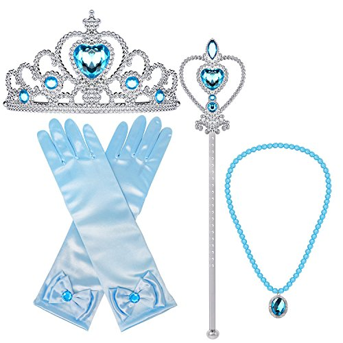 Orgrimmar Princess Dress Up Accessories Gloves Tiara Crown Wand Necklaces Presents for Kids Girls (Yellow) (Blue) -
