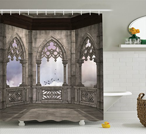 Ambesonne Gothic Decor Collection, Medieval Stone Balcony with Curvings Graphic Design Mystic Middle Age Legend Story Print, Polyester Fabric Bathroom Shower Curtain, 84 Inches Extra Long, Grey Purple