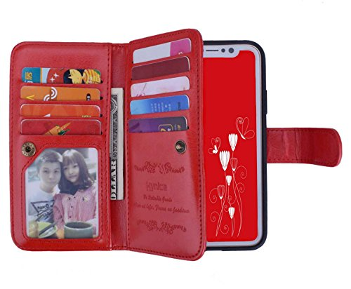 iPhone Xs/X Wallet Case,Hynice Leather Detachable Magnetic Flip 9 Card Slots Holder Wrist Strap Purse Removable Slim Protective Cover for Apple iPhone Xs/X 5.8 inch (Red)