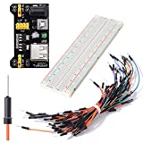 SODIAL(R) MB-102 830 Point PCB Breadboard Power Supply Module 3.3V 5V + Power Supply + 65pcs Jump Cable Wires for Arduino Board+ Breadboard