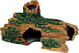Exotic Environments Hollow Log Aquarium Ornament is made with durable poly resin, 18-inch by 8-1/2-inch by 9-inch