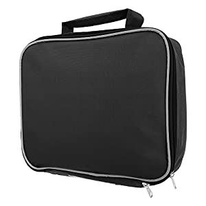 Childrens boys girls plain black bag insulated lunch bag school ...