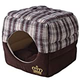 EXPAWLORER Soft Plaid Cat Cube House, 2-in-1 Deluxe Pet Bed for Small Dogs, Classic Fashion Royal Crown With Thick Soft Cotton Fabric, Breathable Lining Warm Cozy, Small