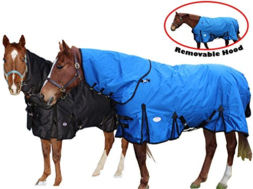 Derby Originals Extreme Elements Collection 1200D Ballistic Nylon Triple Gusset Heavyweight Waterproof Horse Turnout Blanket with Removable Hood (Black, 72