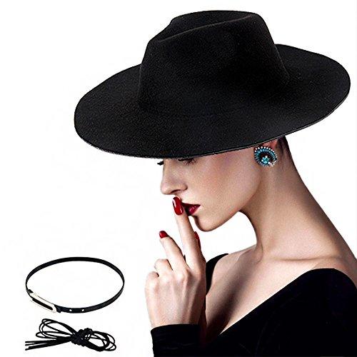 DoubleZhou Women Wide Brim Hat Black Felt Fedora Hat Elegant Luxury Wide Panama Style Hat Cap Vintage Jazz Hat With - Hat Felt Wide Brim