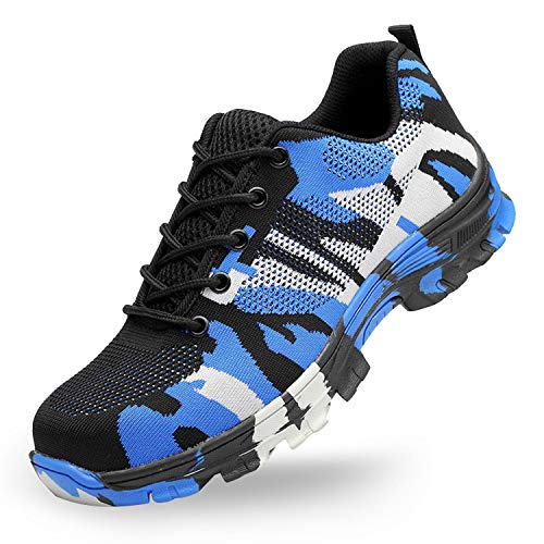 SUADEX Steel Toe Shoes Men, Womens Work Safety Shoes Industrial Construction Sneakers, Outdoor Hiking Trekking Trail Composite Shoes Camouflage Blue Size 9 Women / 7.5 Men (Best Work Shoes For Women)