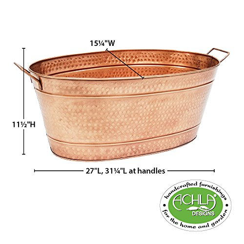 Achla Designs Oval Hammered Copper Plated Galvanized Tub by Achla (Image #7)