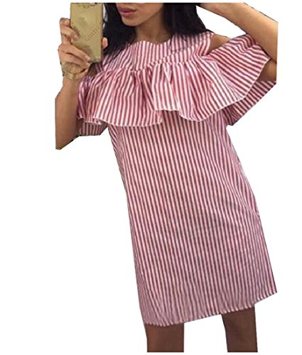 Round Coolred Off Striped Dress Neck Shoulder Mini Women's Pink Fitted P1RROxw5q