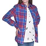 Tractr Girls Two-Piece Layering Shirt Set (Red Blue Plaid/Doodles, Medium)