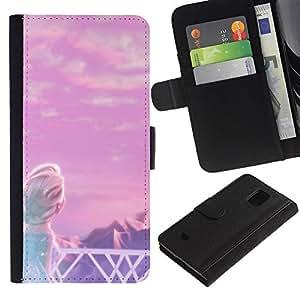 LASTONE PHONE CASE / Lujo Billetera de Cuero Caso del tirón Titular de la tarjeta Flip Carcasa Funda para Samsung Galaxy S5 Mini, SM-G800, NOT S5 REGULAR! / Fairytale Princess Children'S Mountains