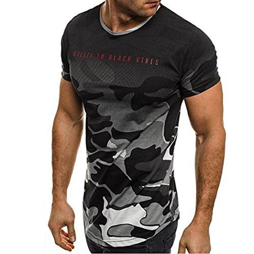Bluestercool Hommes Mode Camouflage Lettres Imprimé Casual Manches Courtes Top T-Shirt Gris