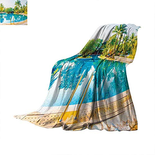 Landscape Digital Printing Blanket Umbrella and Chair Around The Round Pool Tourist Space Famous Spots Concept Summer Quilt Comforter 62