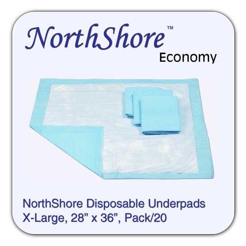 NorthShore Economy, 28 x 36, 18 oz., Blue Disposable Underpads (Chux), Pack/20