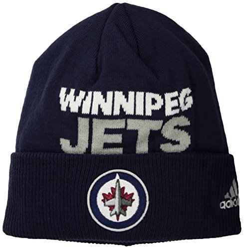fan products of NHL Winnipeg Jets Adult Men Pro Authentic NHL Locker Room Beanie, One Size, Navy