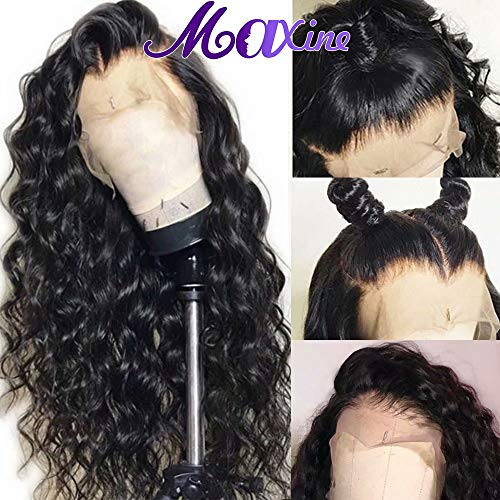 360 Lace Frontal Wigs Water Wave Human Hair Wigs with Baby Hair for Black Women 130% Density Natural Color(20inch)