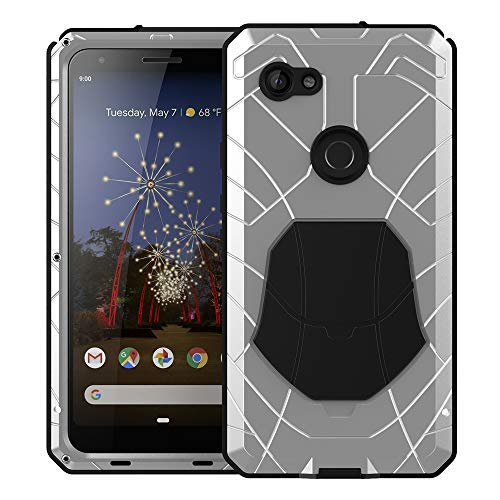 Feitenn Google 3A XL Case, Pixel 3A XL Case Heavy Duty, Gorilla Glass Waterproof Armor Aluminum Alloy Metal Cover Bumper Military Shockproof Hard Defender Men Gift for Google Pixel 3A XL - Silver