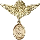 Gold Filled Baby Badge with St. Isaac Jogues Charm and Angel w/Wings Badge Pin 1 1/8 X 1 1/8 inches