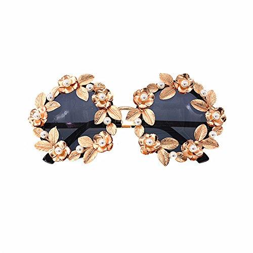 Color Las Retro conducción Moda Gafas Mujeres Tonos Metal de protección a de Sol polarizadas y Perla Godbb Hecha de barrocas Flor Hojas de Sol Oro Lujo UV de Gafas Ojos de Mano para Proteccion BqFH1FAWn