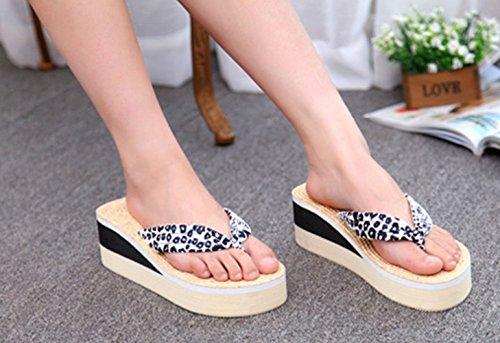 Bettyhome Kvinner Girl Sexy Leopard Høye Hæler Regnbue Komfortable Remmer  Uformell Wedges Sandaler Stranden Flip Flops