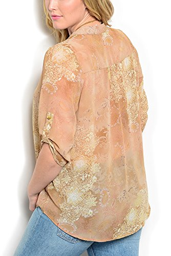 DHStyles Women's Plus Size Sheer Cuffed Sleeves V Neck Top-1X - Taupe