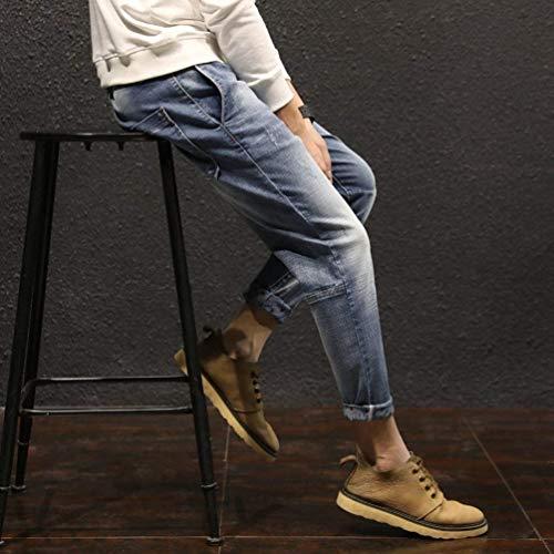 Jeans A Casual Retrò Slim In Moda Blau Denim Uomo Fit Regolare Pantaloni Da Vestibilità gP7wdtd