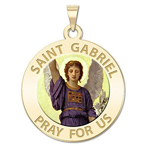 Custom Engraved Saint Gabriel Religious Medal Color - 3/4 Inch Size of a Nickel - Sterling (Gold Saint Gabriel Medal)