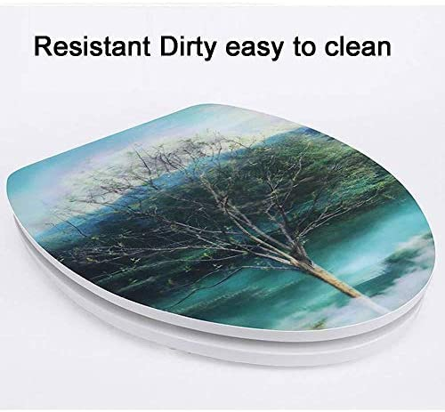 Yxsd スローダウン抗菌MDFと簡単に便座の3D便座はVトイレのための簡単なクリーントイレふたをインストールするには (Color : V, Size : 36*44CM)