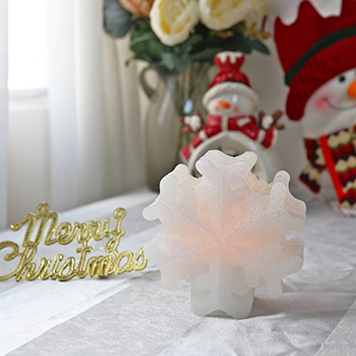 Christmas LED Candle with Timer, White Snowflake for Home...