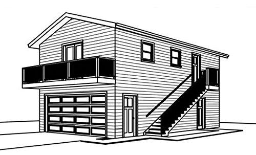 20' by 36' - 2 story Garage plans, Shop on main Floor in rear, Upper Floor with Bathroom in rear