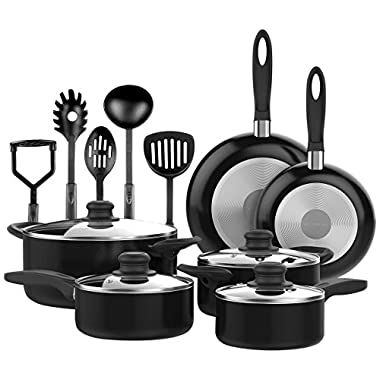 VREMI 15 pcs Non Stick Black Cookware set, Cool Touch Handles, Oven Safe, PTFE and PFOA free