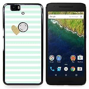 Stuss Case / Funda Carcasa protectora - Azul rayas blancas del bebé del modelo del corazón - Huawei Google Nexus 6P