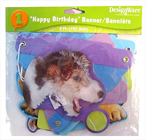 Puppy Party Happy Birthday Banner (1ct)