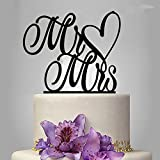 Wedding Cake Topper Wedding Party Cake Decoration Cupcake Stand (Mr and Mrs Heart)