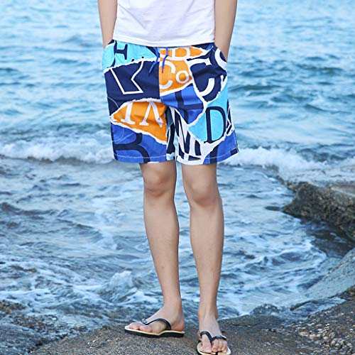 NUWFOR Men's Summer New Cotton Printed Short Sleeves Fashion Loose Size Beach Pants(Blue,US M Waist:25.98-33.86'') by NUWFOR (Image #1)