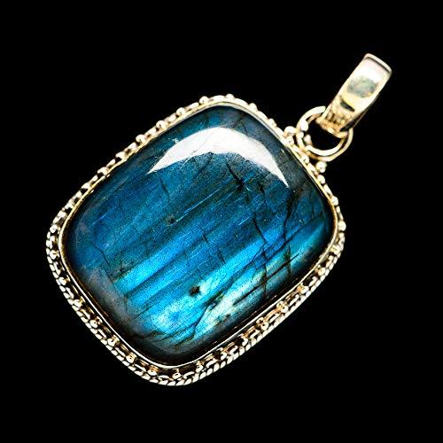 (Ana Silver Co Labradorite Pendant 1 3/8' (925 Sterling Silver) - Handmade Jewelry, Bohemian, Vintage PD696244)