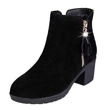 Logobeing Botas Mujer Invierno/Botas de Mujer Casual Zapatos Mujer Cordones Botas Zapatillas de Deporte