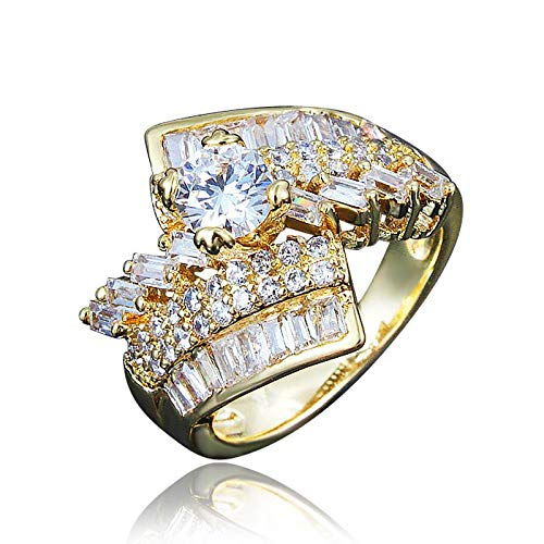 18k Gold Cz Crystal Engagement Best Promise Ring Anniversary