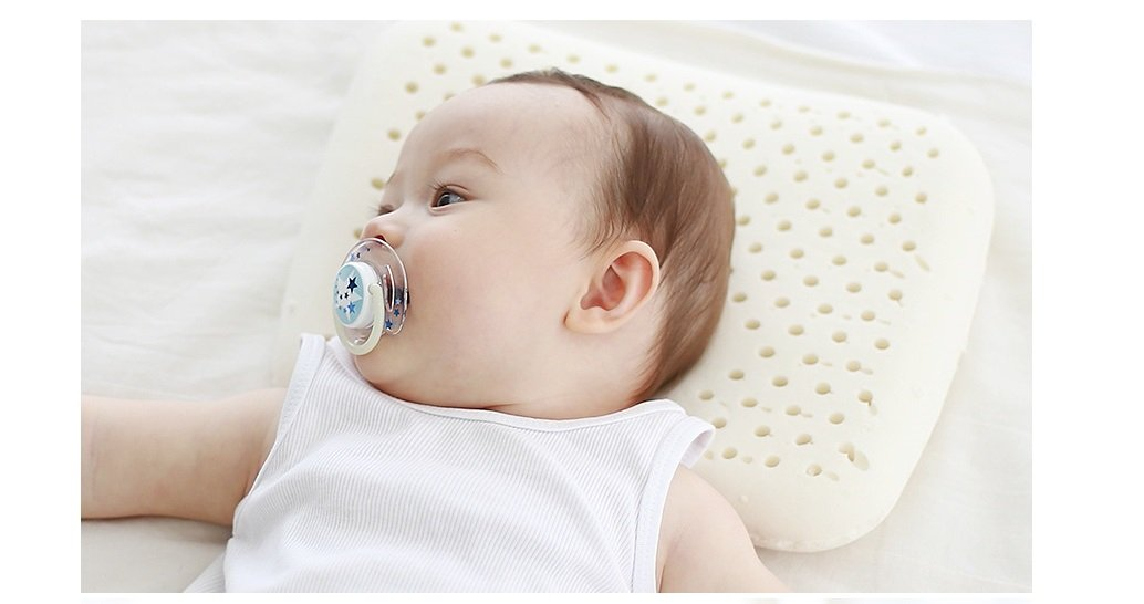Slip Spa Baby Infant Toddler Latex Flathead Pillow With Dented Center About 3 to 12 Months Designed To Support Back Of The Baby Head.