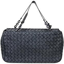 Bottega Veneta Intrecciato Black Fabric Tote Evening Bag 309349 1000