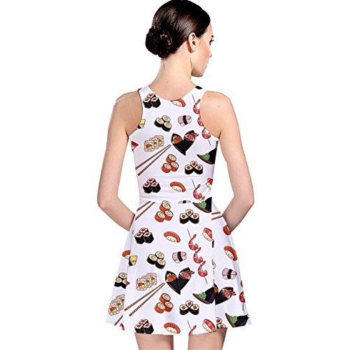 Womens Dress Japanese Reversible Skater Pattern Food CowCow Colorful nPxwqBZfw8