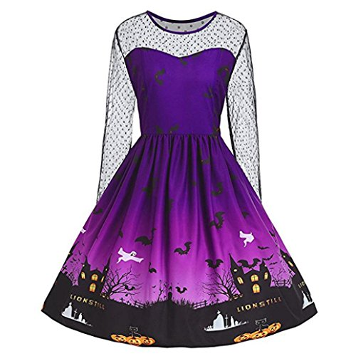 Halloween Date Party Costumes (JINSHUN Women Halloween Pumpkin Print Long Sleeve A-Line Swing Mini Dress, Ladies Vintage Costume Party Short Dress (XL, Purple))