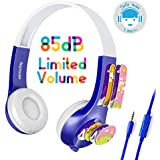 Mimoday Kids Headphones for Kindle Fire Kids Edition Tablet Volume Limiting with Microphone Over Ear Headphones for Boys Girls(Blue)